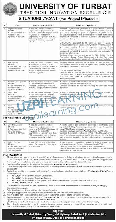 University of Turbat Latest Jobs Opportunity 2021