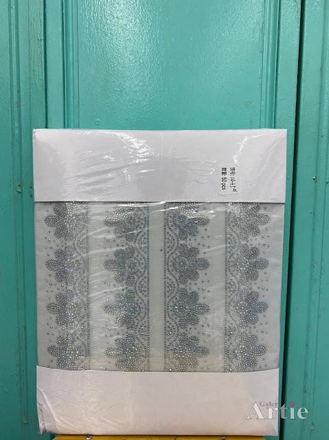 Pelekat hotfix sticker rhinestone DMC aplikasi tudung bawal fabrik pakaian bunga 5 kelopak