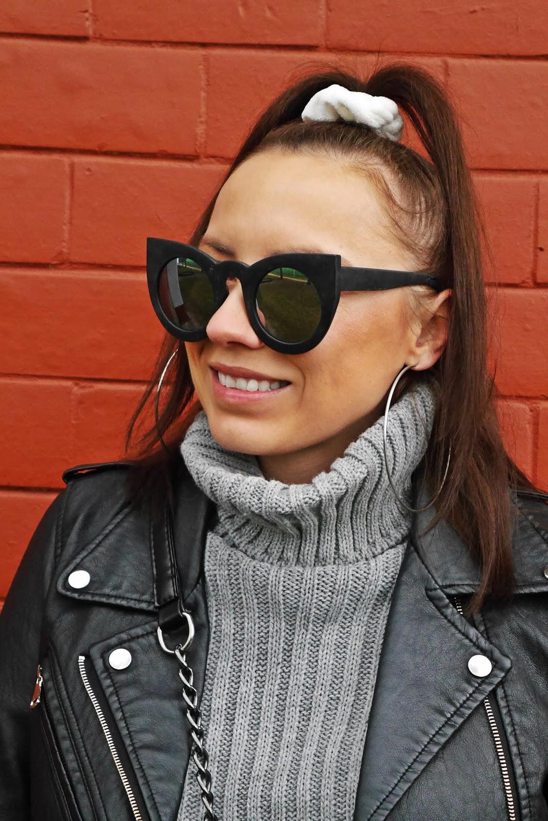 szara sukienka bawełniana golf sweterkowa czarna ramoneska pasek aliexpress, superstar bold adidas stylizacja look karyn blog modowy blogerka modowa puławy
