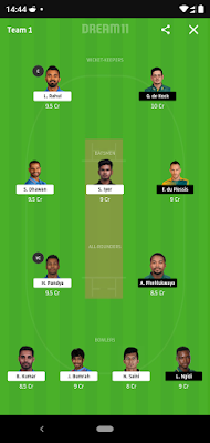 My dream 11 for South Africa Tour Of India March 2020 Match no 1