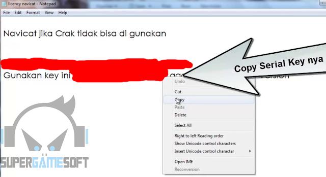 Copy Serial key yang ada di file bahannya
