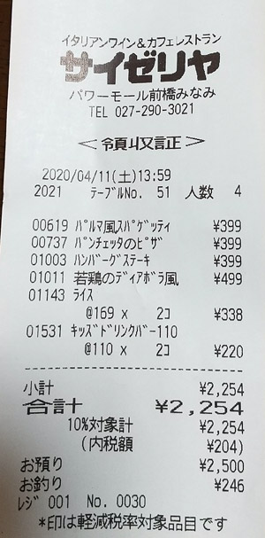 サイゼリヤ パワーモール前橋みなみ店 2020/4/11 飲食のレシート