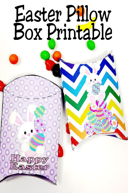 Quckly and easily print these Easter pillow boxes for a fun way to give sweets and treats to all your friends this Easter  These free printable pillow boxes have cute Easter Bunnies and fun colors to brighten up your Easter baskets. #easterbasketfiller #easterpillowboxfreeprintable #diypartymomblog