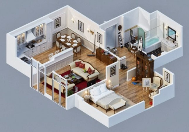 Sketsa Reka Bentuk Denah Rumah Minimalis 4 Bilik Tidur 1 Tingkat