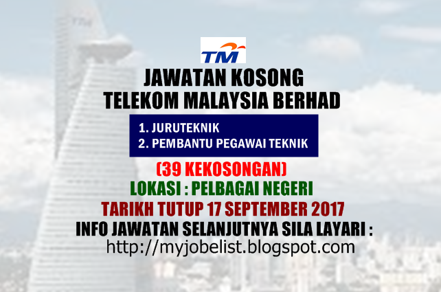 Jawatan kosong terkini di Telekom Malaysia Berhad (TM) September 2017