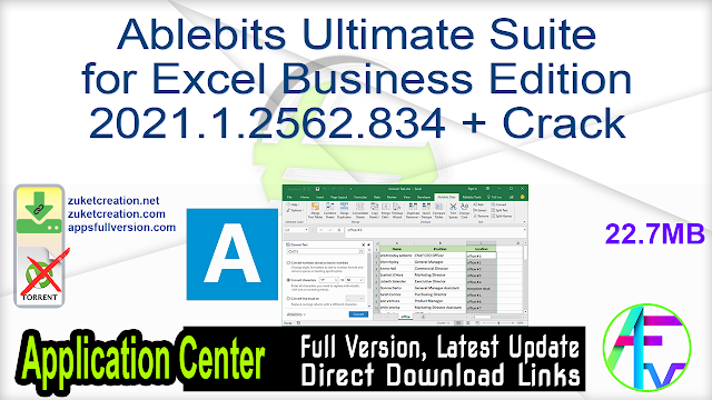 Ablebits Ultimate Suite for Excel Business Edition 2021.1.2562.834 + Crack