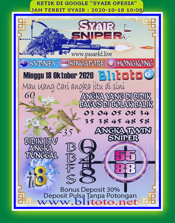 Kode syair Sydney Minggu 18 Oktober 2020 104