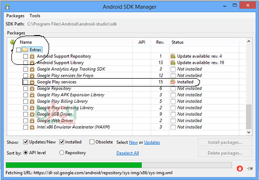 Install the Google Play Services SDK In Android Studio 3