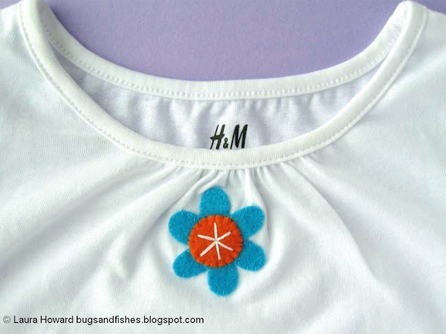Floral Applique T-shirt Tutorial: sewing the flowers to the t-shirt