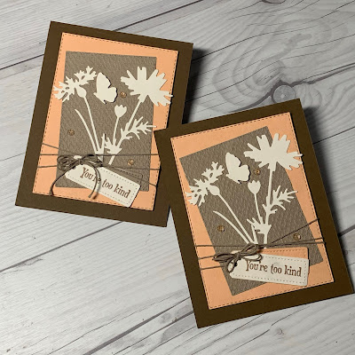 Two handmade greeting cards using the Stampin' up! Quiet Meadow Bundle