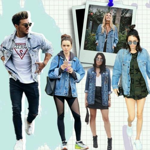 Outfits para chicas con denim jacket de hombres