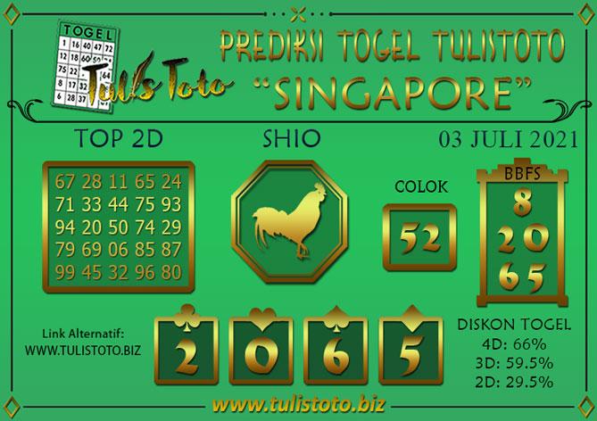 Prediksi Togel SINGAPORE TULISTOTO 03 JULI 2021