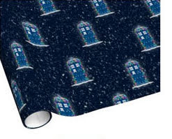 Police Box with Christmas Lights & Snow Wrapping Paper