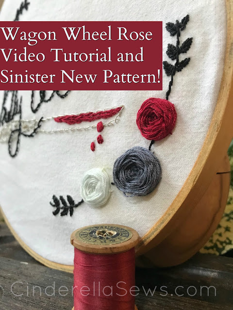 Victorian Gothic Embroidery Pattern and wagon rose wheel stitch tutorial