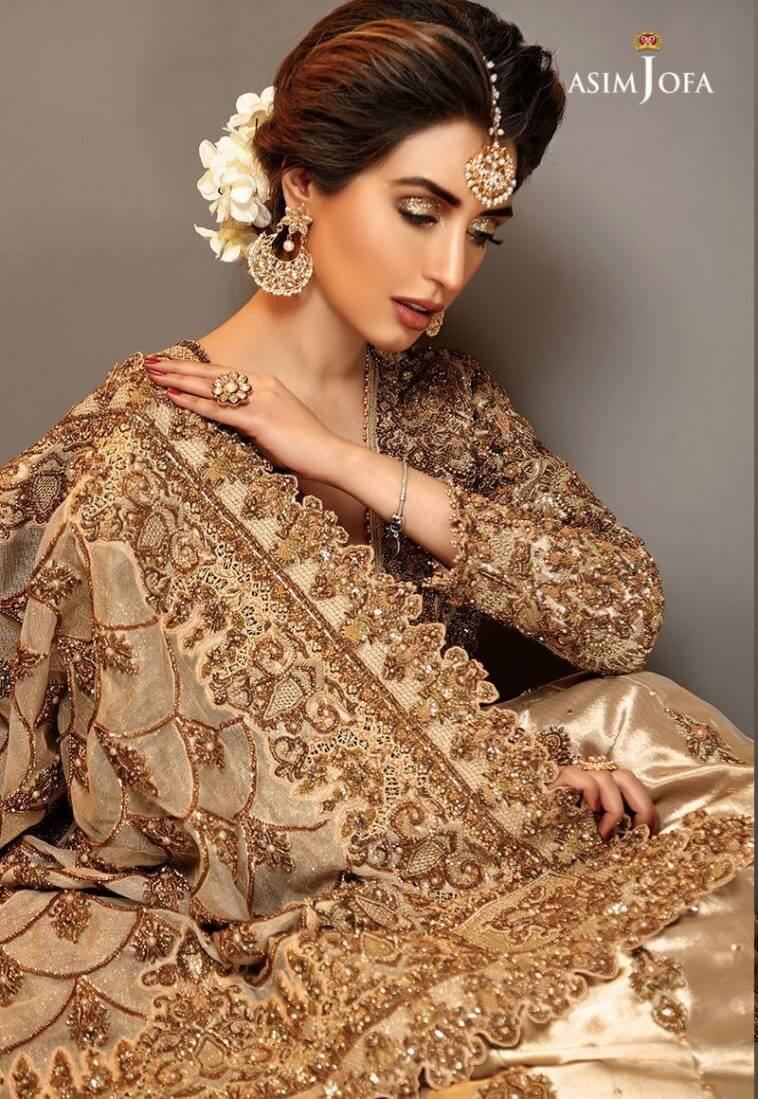 Gold front open Pakistani bridal wear by Asim Jofa