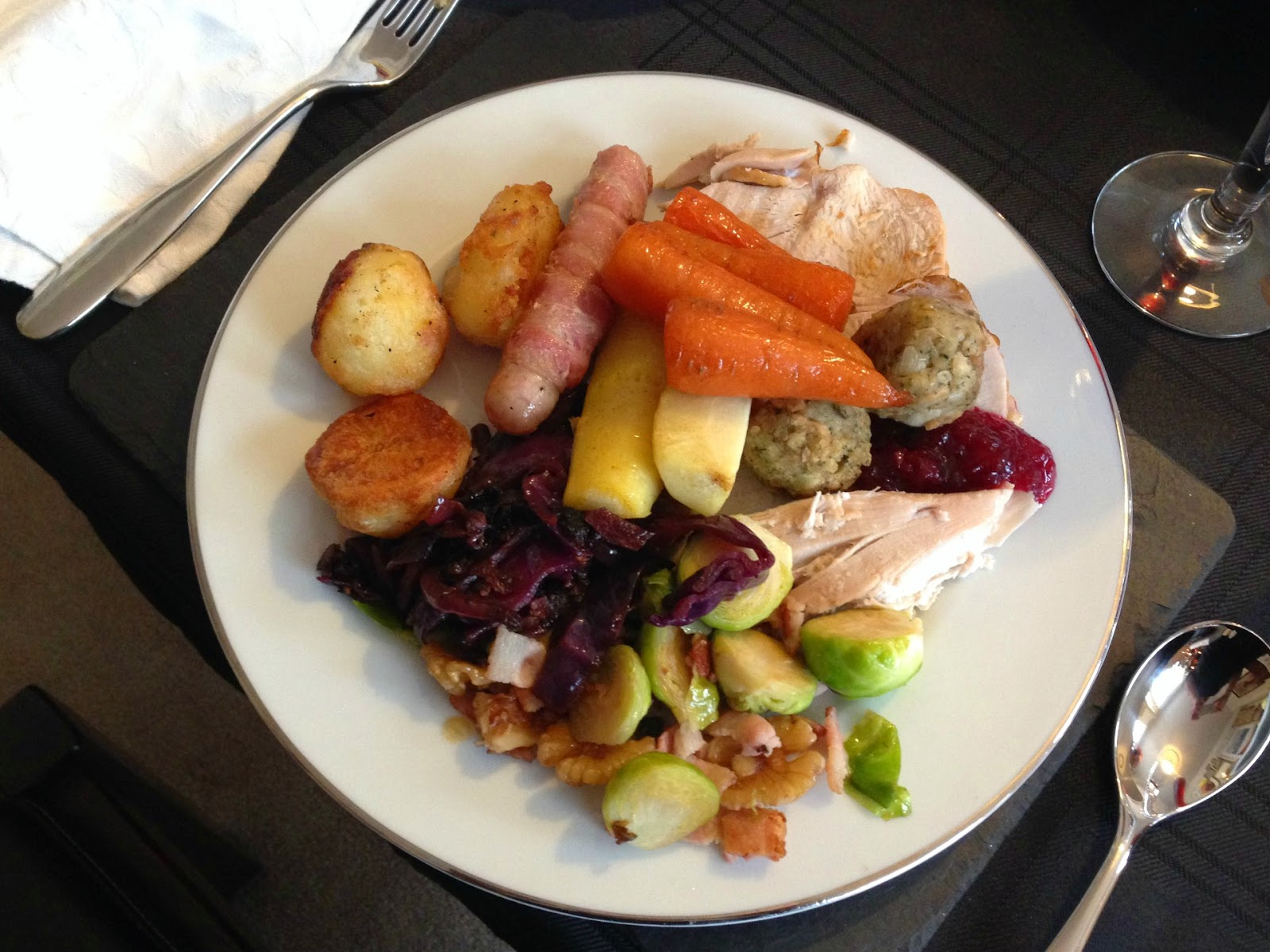 A plate of traditional Christmas dinner food