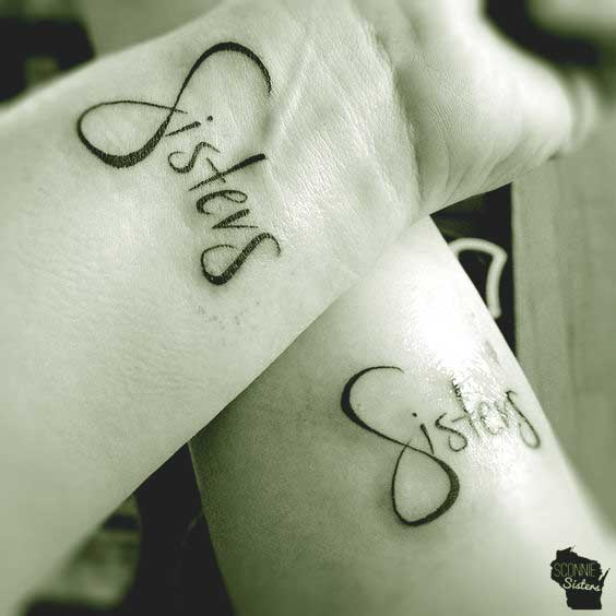 sister matching tattoo on wrist