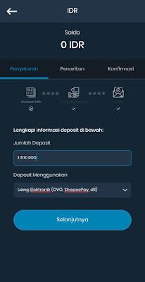 Screenshot Halaman Deposit Aplikasi Indodax