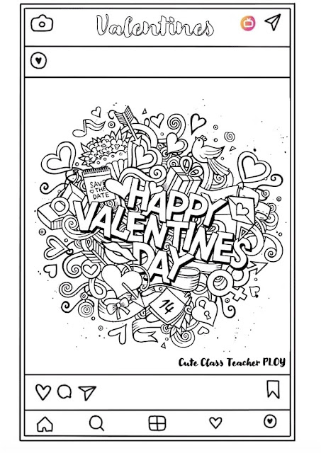 Valentines Day Coloring Pages PDF for Kindergarten Student PIN IT for Pinterest