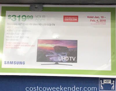 Costco 9406290 - Samsung UN40MU6290 40in 4K UHD LED LCD TV: great for bedrooms and smaller living spaces