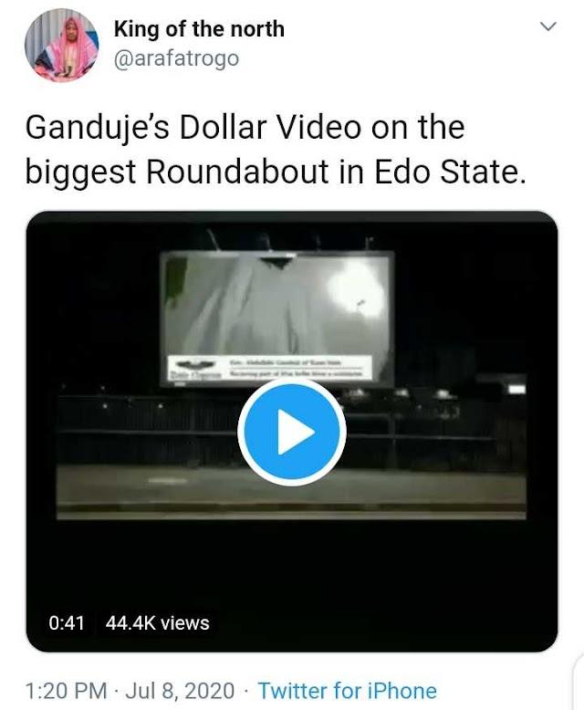 Ganduje Dollar Video Played On Edo Biggest Roundabout Billboard