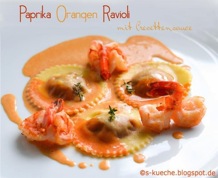 Paprika-Orangen Ravioli mit Crevettensauce Totale