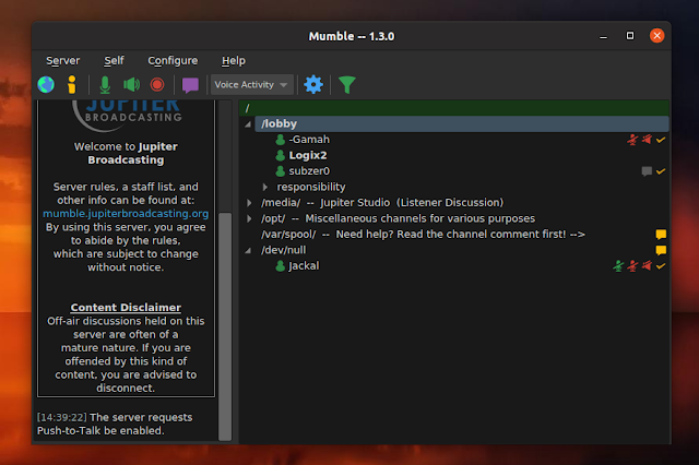 Mumble 1.3.0 dark theme