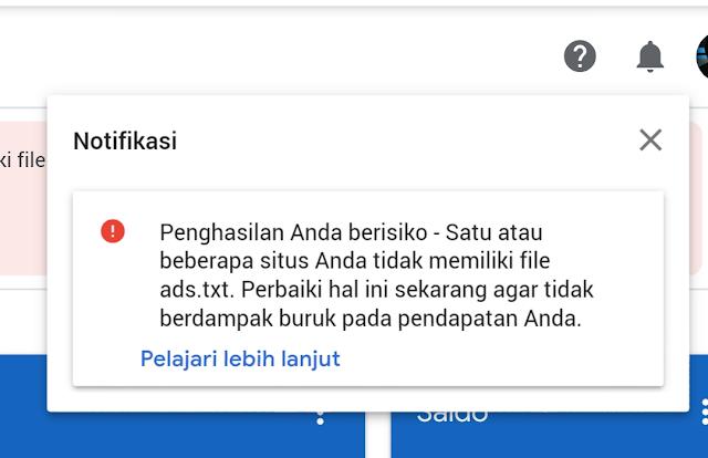 Masalah ads.txt pada blogger