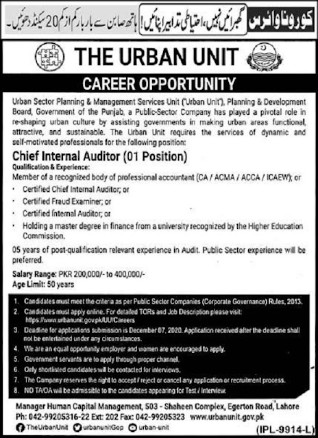 the-urban-unit-chief-internal-auditor-jobs-2020-lahore