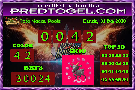 Pred Macau Kamis 31 Desember 2020
