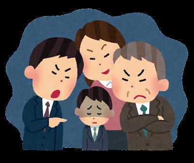 職場いじめ・パワハラのイラスト(男性)
