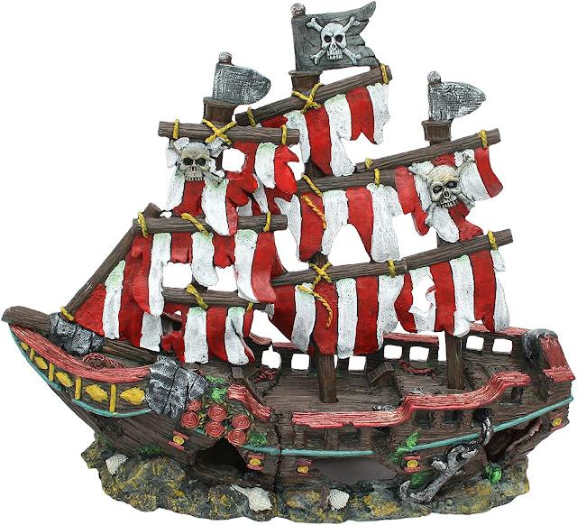 Penn-Plax-Striped-Sail-Shipwreck-Aquarium