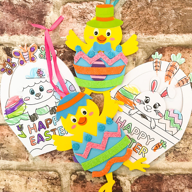 Two easter cards coloured in by a child and two hanging easter decorations