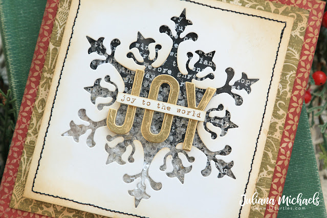 Joy Shaker Card by Juliana Michaels featuring Tim Holtz Sizzix Stunning Snowflake Thinlits and Alphanumeric Shadow Upper Thinlits