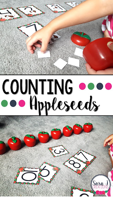 Free counting cards and appleseeds.  Practicing counting and matching numbers.  Perfect for preschool and kindergarten.