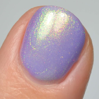 lilac purple nail polish with shimmer swatch