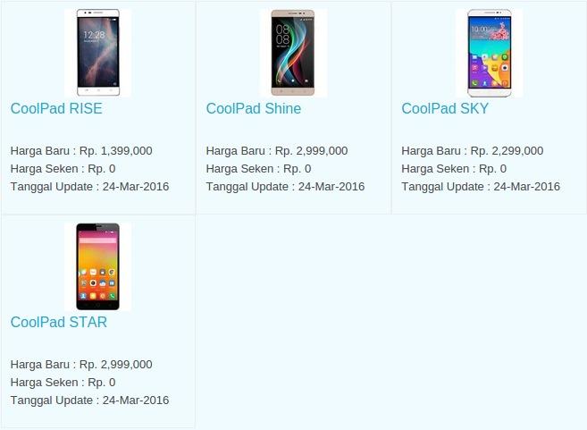 Daftar Harga Terbaru Hp Coolpad April 2016