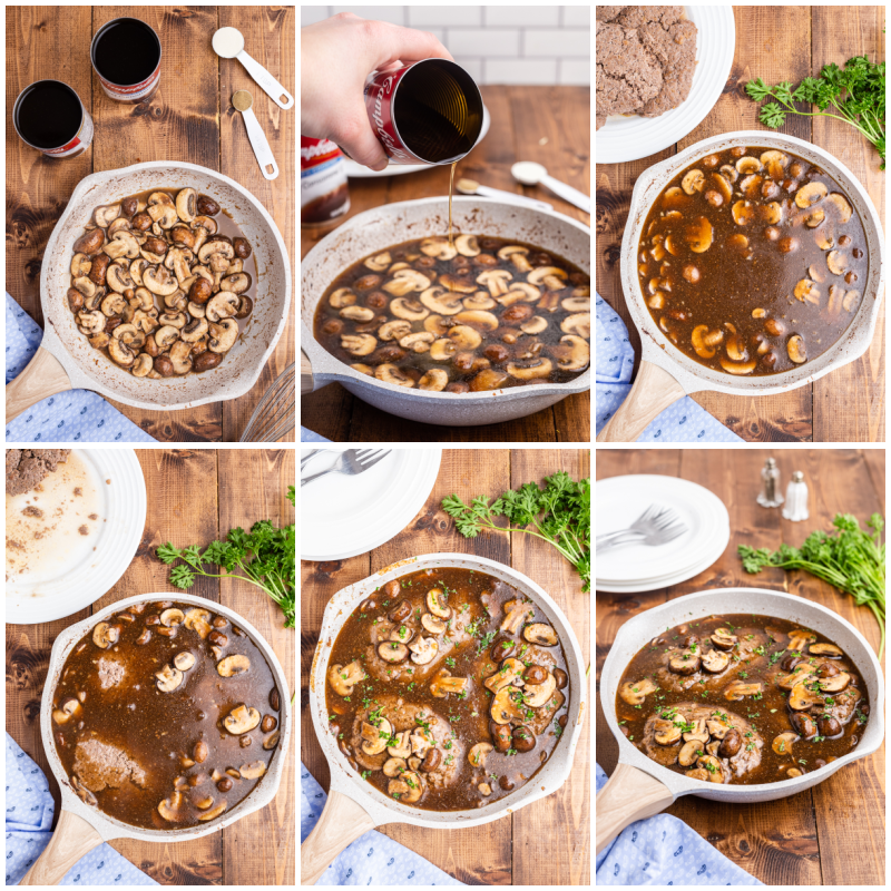 Six more photos of the process of making the keto mushroom gravy to go with the keto salisbury steaks