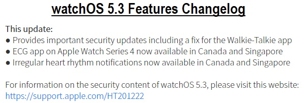 watchOS 5.3 Features