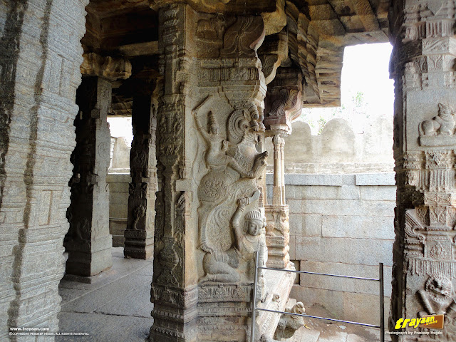 100 pillared Ranga Mandapa or Dance Hall, with Intricately sculpted pillars inside the Veerabhadra Swamy Temple at Lepakshi, in Andhra Pradesh, India