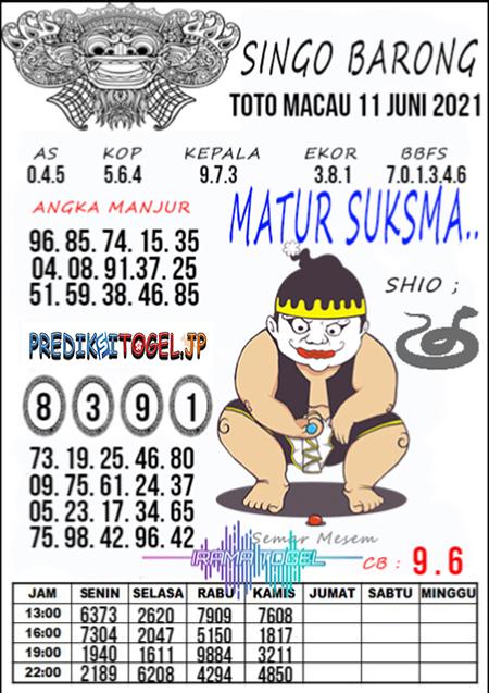 Syair Top Singo Barong Toto Macau Jumat 11 Juni 2021