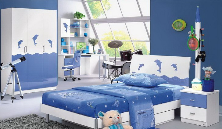 Bright Kids Bedroom Interior Design Ideas With Blue And White Wall Paint  Featuring Modern Platform Bed And Dolphins Accent Complete With Drum Set  And ...