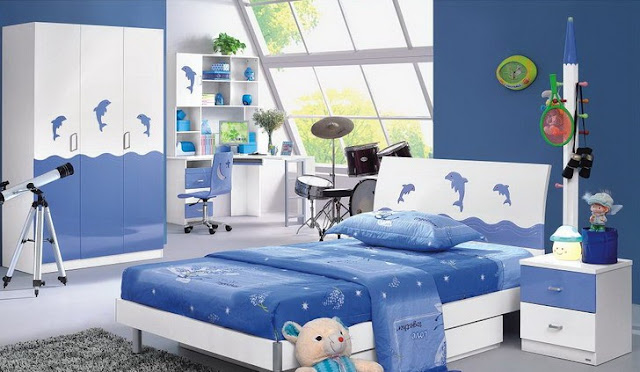 Great Bright Kids Bedroom Interior Design Ideas With Blue And White Wall Paint  Featuring Modern Platform Bed And Dolphins Accent Complete With Drum Set  And ...
