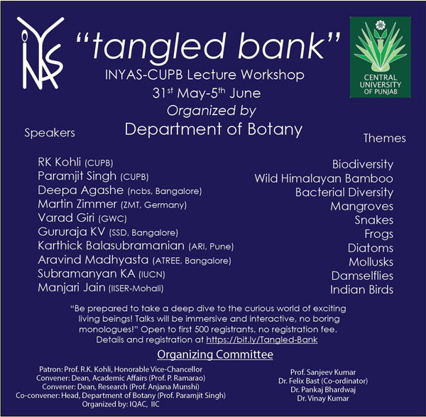 INYAS-CUPB Lecture Workshop | 31st May - 5th June 2020 | Tangled Bank