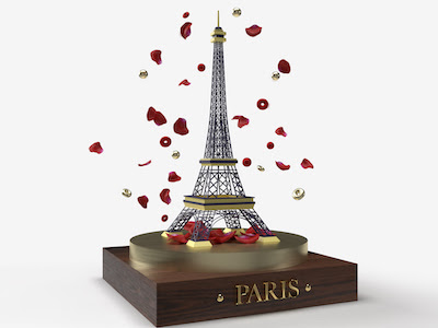 3D Eiffel tower with red flower petals background