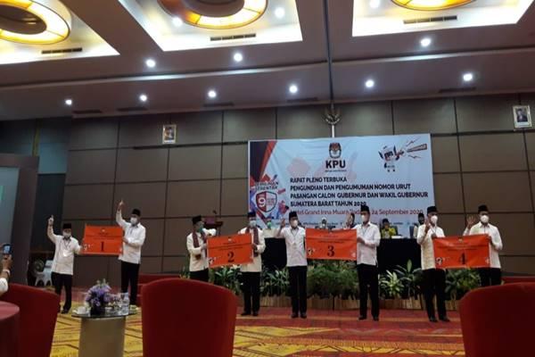 KPU Sumbar Tetapkan Nomor Urut Paslon Gubernur