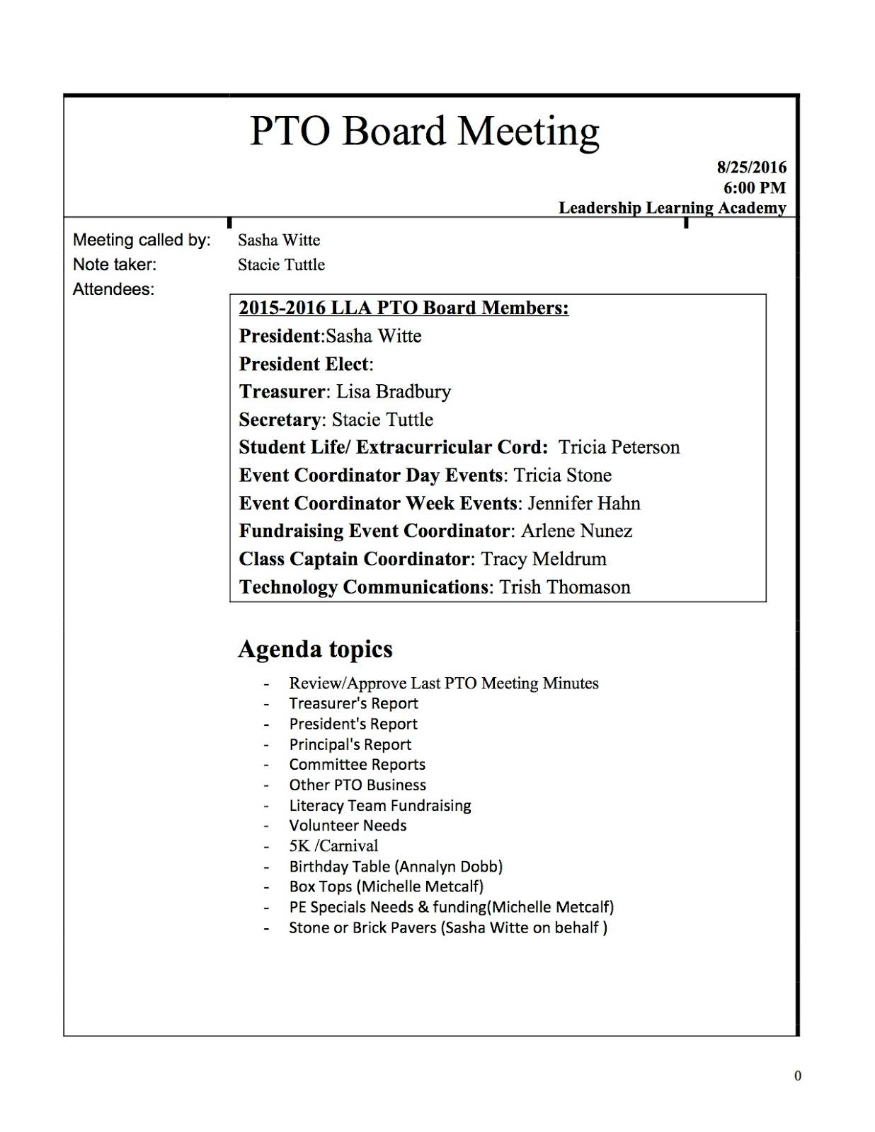 pto agenda template - 28 images - pto meeting agenda sle pto meeting ...
