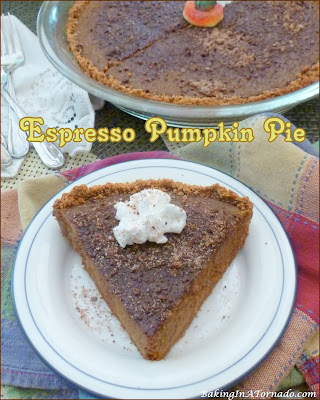 Espresso Pumpkin Pie, a classic holiday dessert gets an upgrade. Silky pumpkin pie is infused with a coffee flavored boost. | Recipe developed by www.BakingInATornado.com | #bake #pie