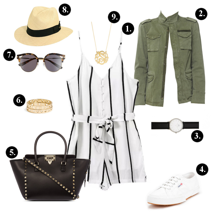 Romper outfits, Romper outfit ideas, Oasap romper, Anine Bing Jacker, Daniel Wellington Watch, Valentino Bag, BaubleBar Bangles, Gentle Monster sunglasses, Scala hat