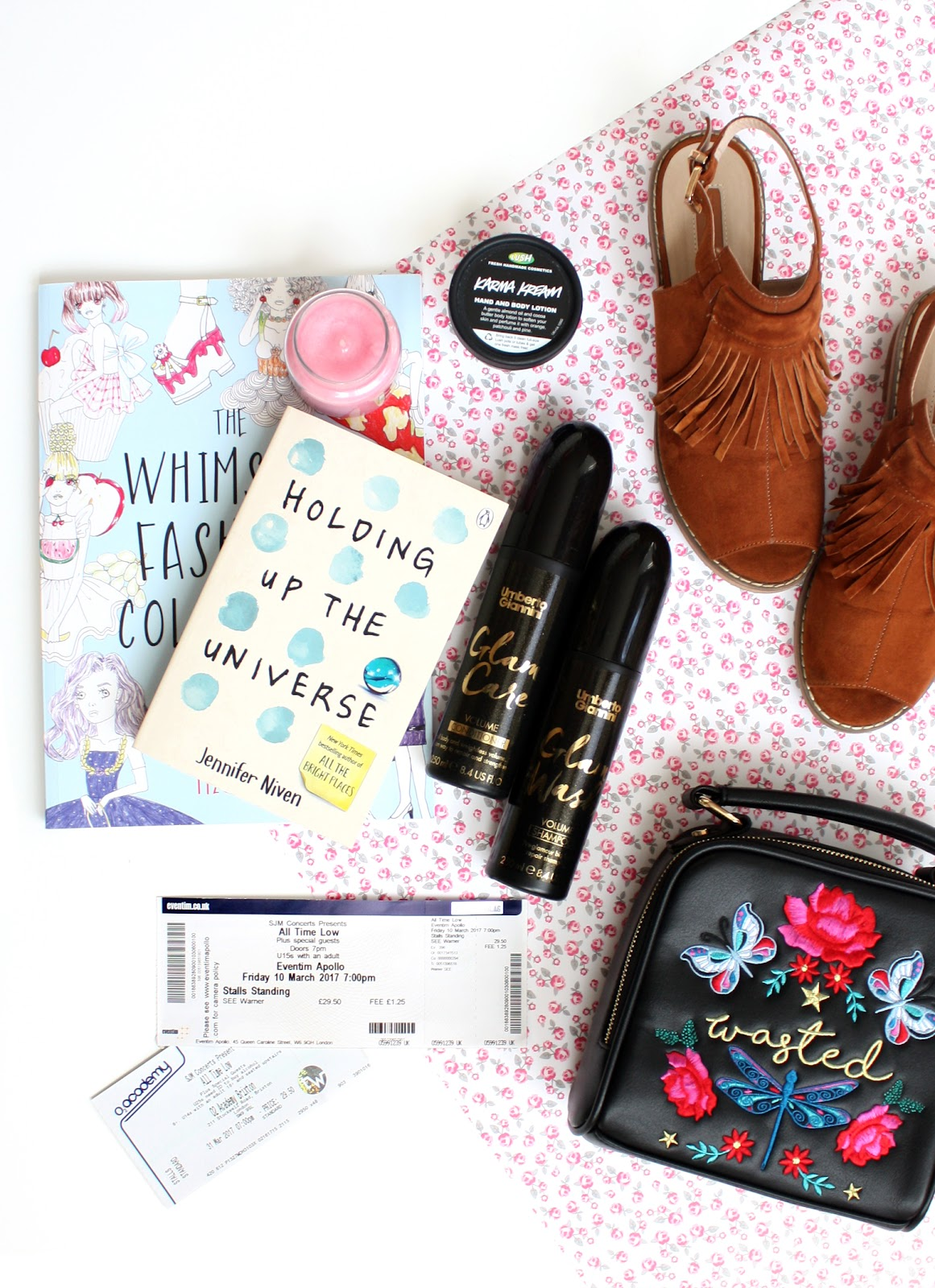monthly favourites flatlay